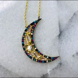 """To The Moon & Back"" Necklace w/ cubic Zirconia"